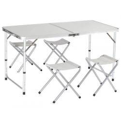 Kempingový stůl hliníkový skládací  + 4 židle