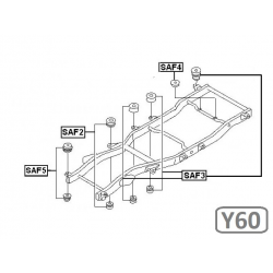 SADA SILENTBLOKŮ KAROSERIE - NISSAN PATROL Y60 (5DV.)